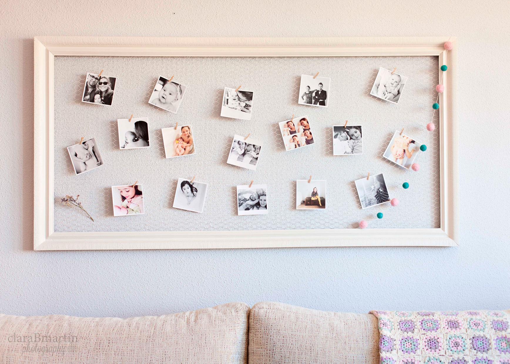 Diy marco de fotos con malla de gallinero clarabmartin - Marcos de fotos para colgar ...