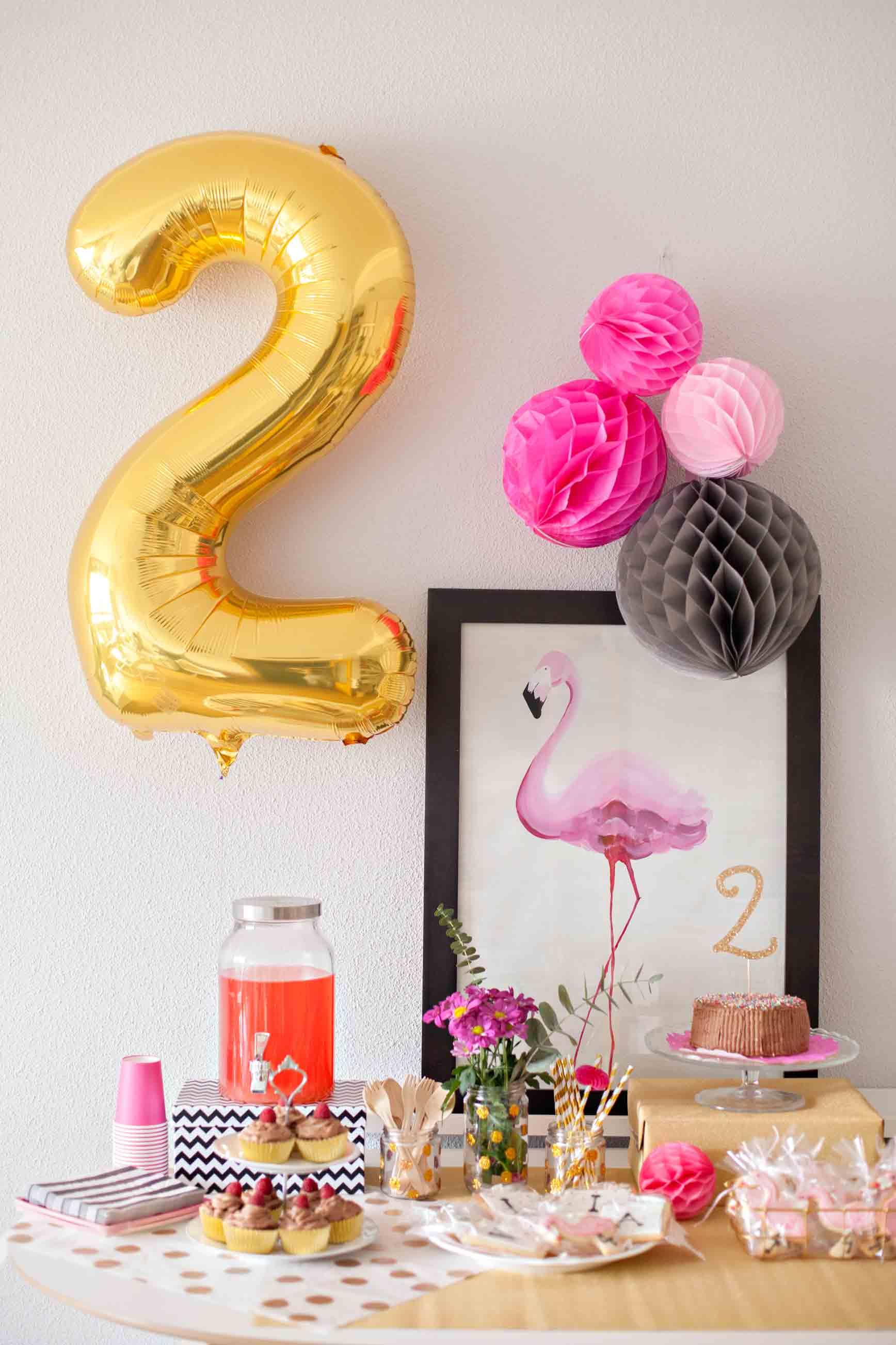 Fiesta de cumpleaños de flamencos